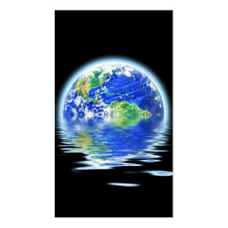 Global Warming Flooded Earth Illustration Business Card Templates