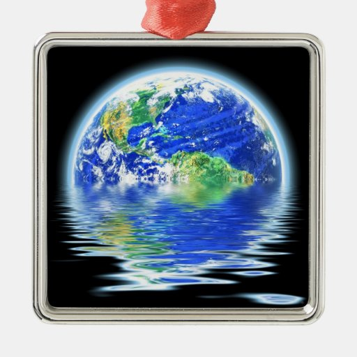 Global Warming Flooded Earth Illustration Ornament