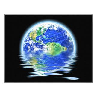 Global Warming Flooded Earth Illustration Custom Invites