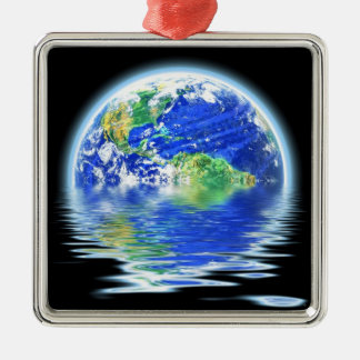 Global Warming Flooded Earth Illustration Silver-Colored Square Decoration