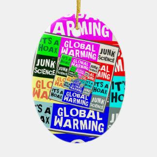 Global Warming Hoax Ceramic Oval Decoration