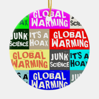 Global Warming Hoax Double-Sided Ceramic Round Christmas Ornament