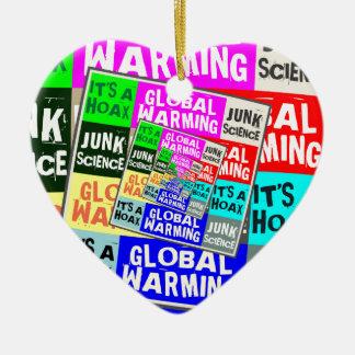 Global Warming Hoax Ceramic Heart Ornament