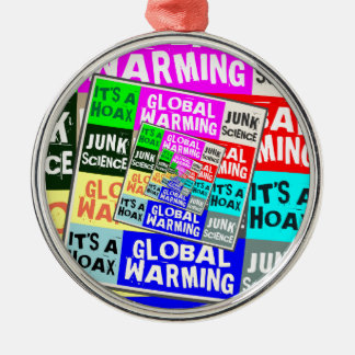 Global Warming Hoax Silver-Colored Round Decoration