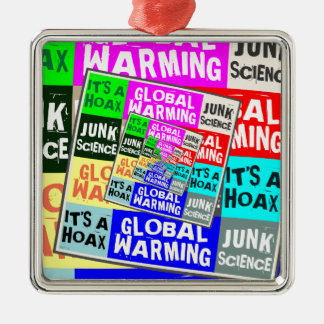Global Warming Hoax Silver-Colored Square Decoration