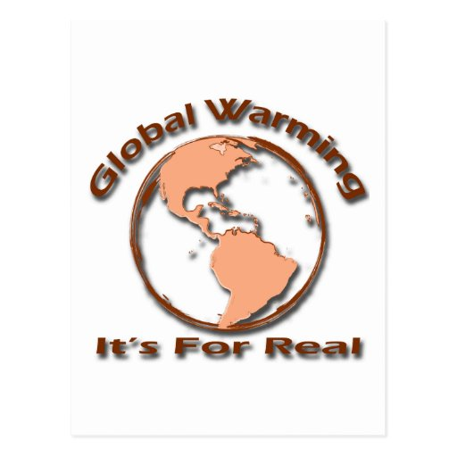 Global Warming Its For Real brown Postcards