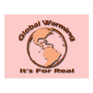 Global Warming Its For Real brown Postcard