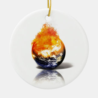 Global Warming Round Ceramic Decoration