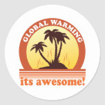 global warming round stickers