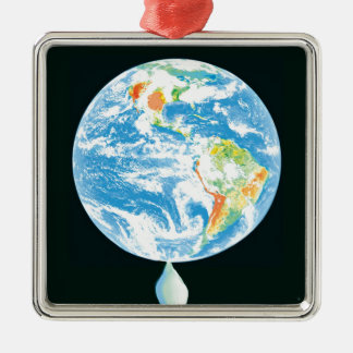 Global Warming Silver-Colored Square Decoration