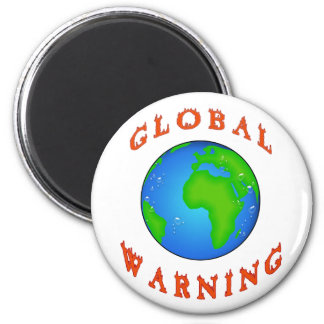 global warning 6 cm round magnet