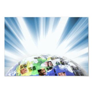 Global Worldwide Network of People 9 Cm X 13 Cm Invitation Card