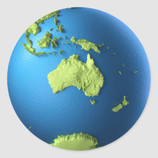 Globe 3d Isolated On White. Continent Australia Round Stickers
