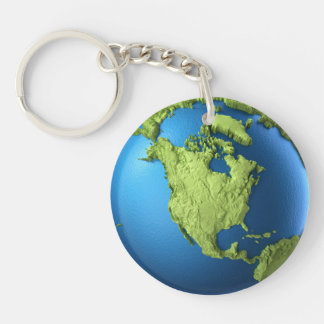 Globe 3d isolated on white.Continent North America Double-Sided Round Acrylic Key Ring