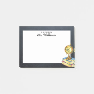 Globe and Chalkboard Personalized Teacher Post-it Notes