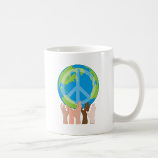 Globe and Hands Basic White Mug