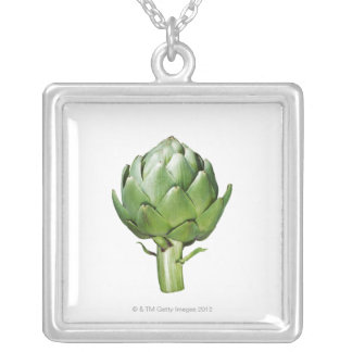 Globe Artichoke on White Background Cut Out Square Pendant Necklace