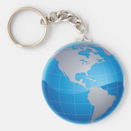 GLOBE BASIC ROUND BUTTON KEY RING