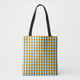Globe Check all over tote yellow back Tote Bag