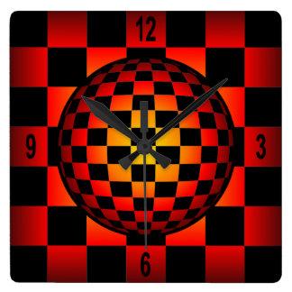 Globe Chess ~ Checkerboard ~ Black & Fire Color ~ Square Wall Clock