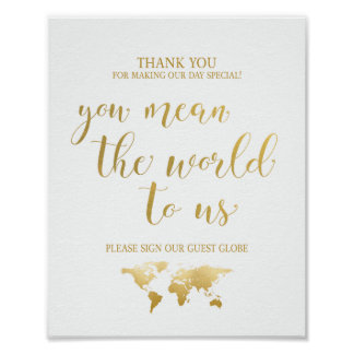 Globe Guest Book Sign Poster
