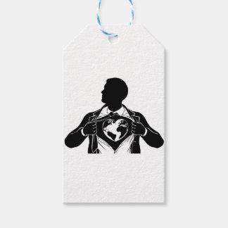 Globe Heart Business Superhero Tearing Shirt Chest