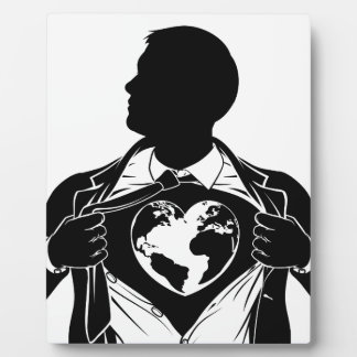 Globe Heart Business Superhero Tearing Shirt Chest Plaque