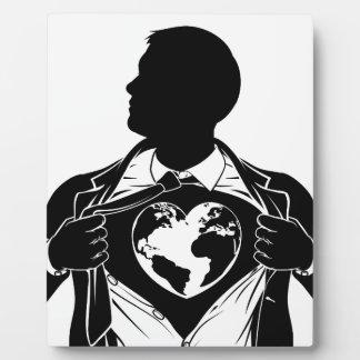 Globe Heart Business Superhero Tearing Shirt Chest Plaque