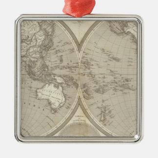 Globe map Silver-Colored square decoration