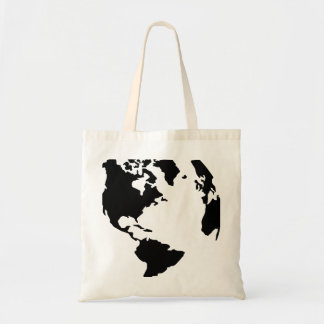 Globe north south america map canvas bag