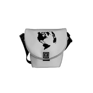 Globe north south america map messenger bags