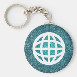 Globe Revolves Minimal Basic Round Button Key Ring