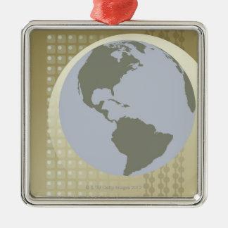 Globe Showing Americas Christmas Ornament