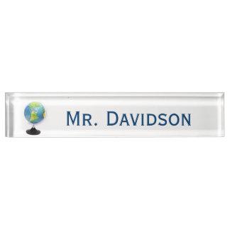 Globe Teacher's Custom Desk Nameplate