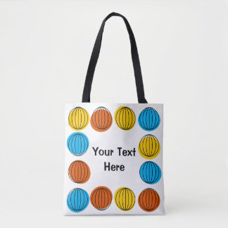 Globe Text all over tote blue back