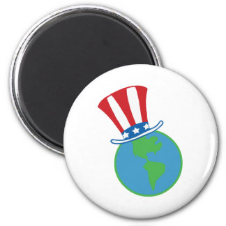 Globe with American Patriotic Hat Refrigerator Magnets