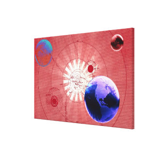Globes with map of universe canvas print