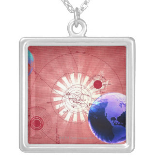 Globes with map of universe silver plated necklace