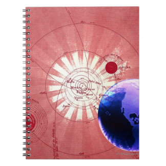 Globes with map of universe spiral notebook
