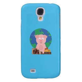 Globetrotter Travel Pig with Suitcases Q1Q Galaxy S4 Case
