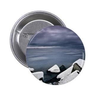 Gloomy Baltic Sea Scene In The Wintertime 6 Cm Round Badge