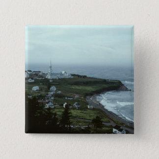 Gloomy seaside village 15 cm square badge