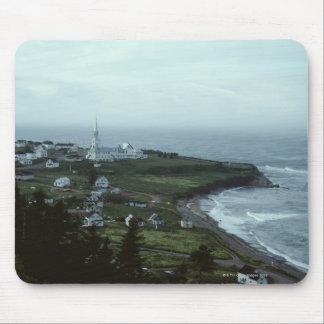 Gloomy seaside village mouse mat