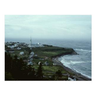 Gloomy seaside village postcard