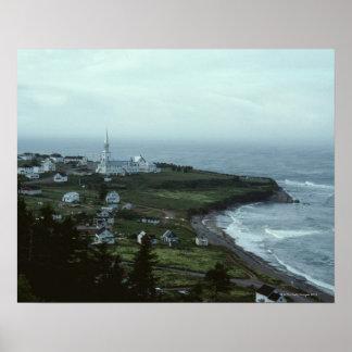 Gloomy seaside village poster