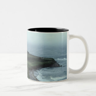 Gloomy seaside village Two-Tone coffee mug