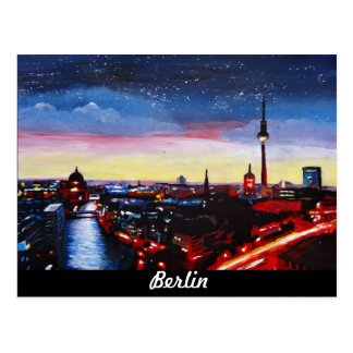 Gloomy Skyline Of Berlin Germany with Stars Postcard