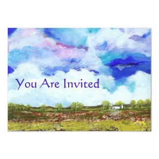 Glorious Abstract Landscape Art Farm Barn House 11 Cm X 16 Cm Invitation Card