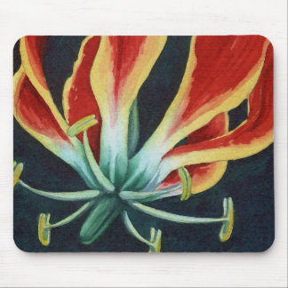 Glorious Gloriosa Lilly Watercolor Mouse Pad