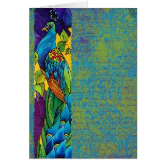 Glorious Peacock Art Painting Greeting Card